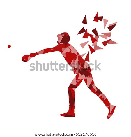 Table tennis player ping pong abstract vector background illustration made with polygonal fragments isolated on white