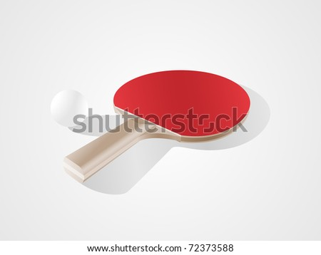 Table tennis racket & ball. Easy to edit and recolor. - stock vector