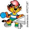 table tennis tiger vector - stock vector