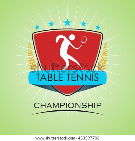 Table Tennis - Winner Golden Laurel Seal  - Layered EPS 10 Vector - stock vector
