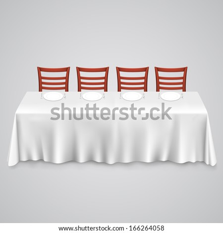 table tablecloth chair on white background stock vector 166264058