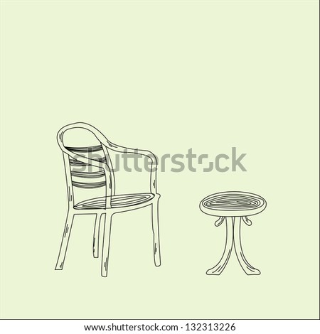 Table with Chair - stock vector