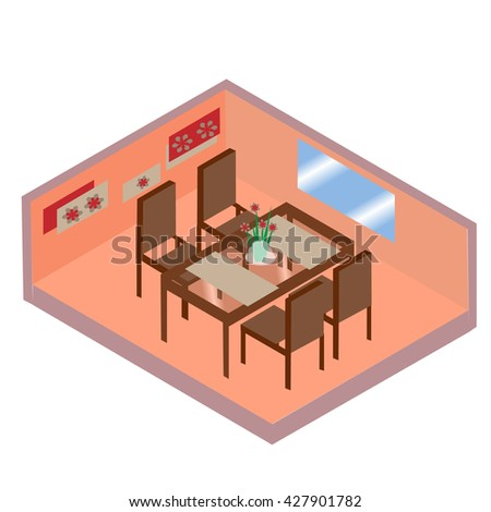 Table with chairs for cafes. Glass table with chairs Modern. Table with chairs on white background. Restaurant table with chairs flat design. Table with chairs isometric.Vector illustration - stock vector