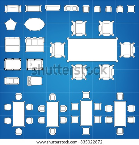 Tables and chairs vector illustration for interior outline design on scale technical grid background