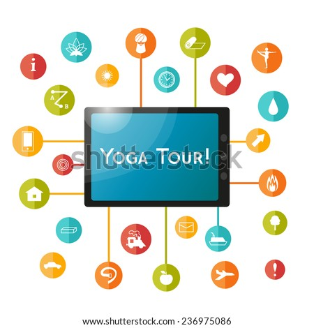 Tablet and set of flat icons for yoga poster, yoga site. Vector yoga infographics. Multicolored buttons for yoga site. Set elements for decor of yoga tour advertisement. 25 yoga icons. - stock vector