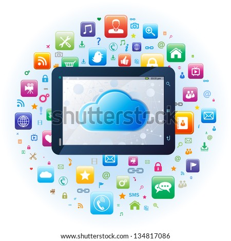 Tablet app with cloud computing concept - stock vector