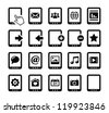 Tablet black icons set with reflections - stock vector
