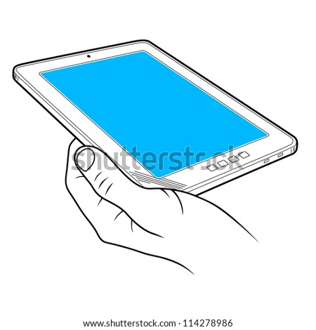 tablet computer and hand. vector illustration - stock vector