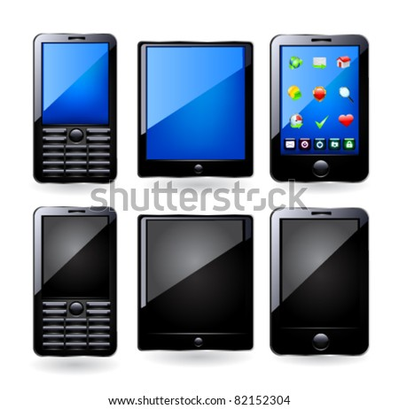 Tablet computer and mobile phone. Vector - stock vector