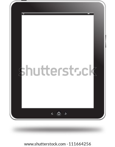 Tablet computer. Black frame vector tablet pc with white screen. EPS 10 editable illustration