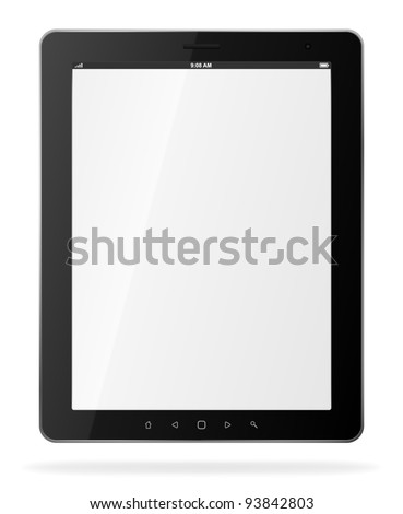 Tablet computer. Black frame vector tablet pc with white screen. . Object isolated of background. EPS 8 editable illustration