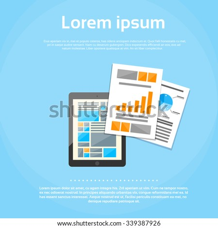 Tablet Computer Finance Chart Infographics Web Page Digital Application Mobile Office  Flat Vector Illustration - stock vector