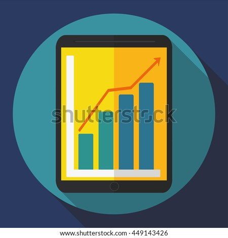 tablet computer icon. Flat style ( growing trend ) Vector graphics - stock vector