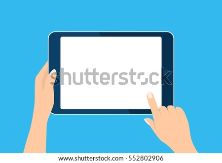 Tablet computer icon. Hand holding and touch device. Template vertical blank white screen, mock up. Sign isolated on blue. Vector cartoon flat illustration for web site, app, UI