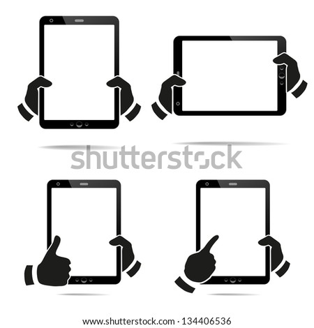Tablet Computer & Mobile Phone. Vector illustration - stock vector