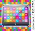 Tablet computer on colorful background - stock vector