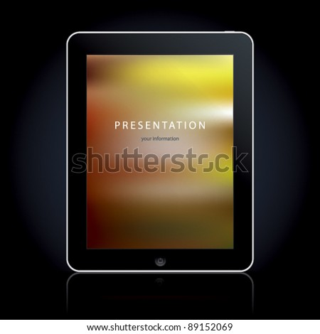 Tablet computer on the black background. Vector illustration. - stock vector