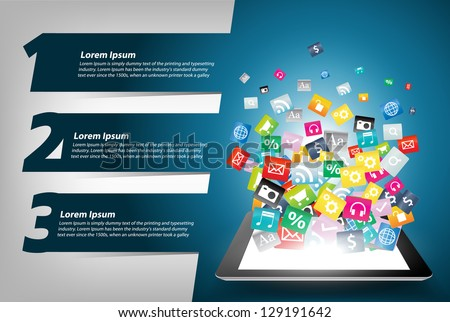 Tablet computer With Colorful application icon concept, With Modern Design template / infographics / numbered banners, Vector illustration presentations with letters numbers - stock vector