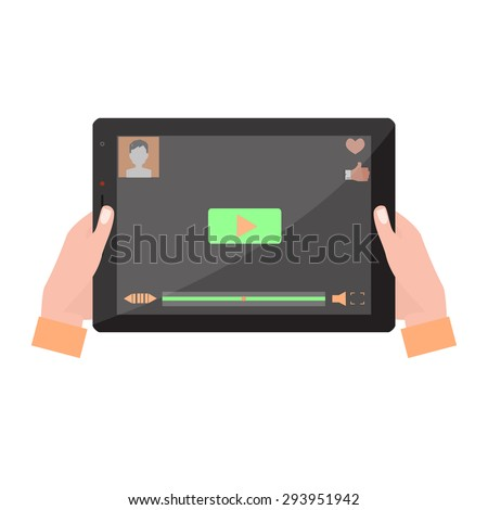 Tablet computer with video player on the screen in the human hands. Vector illustration, - stock vector
