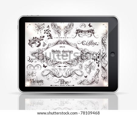Tablet Computer with vintage ornaments and frame elements set for retro design. Eps 10 - stock vector