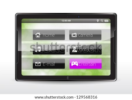 "Tablet concept with a pink ""Entertain"" button"