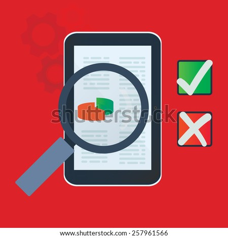 Tablet data analysis with yes and no check marks quality control tabs vector illustration. - stock vector