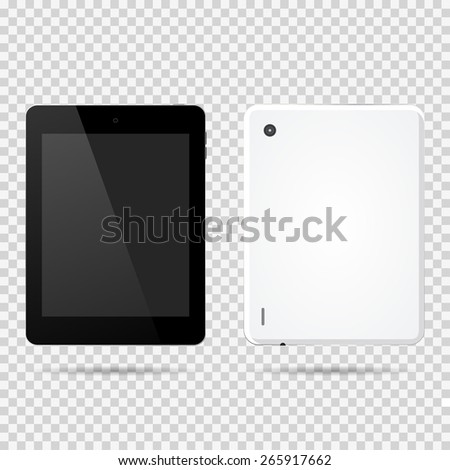 Tablet front, backside vector illustration - stock vector