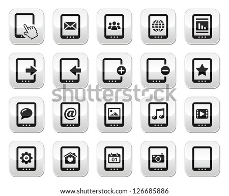 Tablet grey square buttons set - vector - stock vector