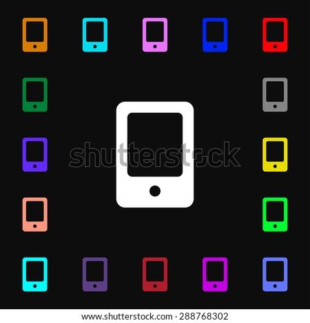 Tablet icon sign. Lots of colorful symbols for your design. Vector illustration - stock vector