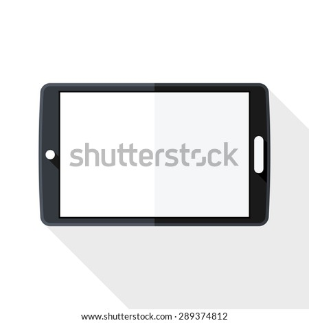 Tablet icon with long shadow on white background - stock vector