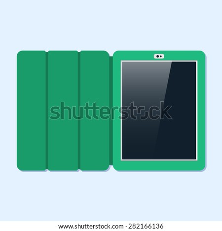 Tablet in a cover, flat style. Top view. Vector - stock vector