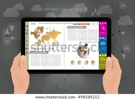 Tablet in hand with business e-book