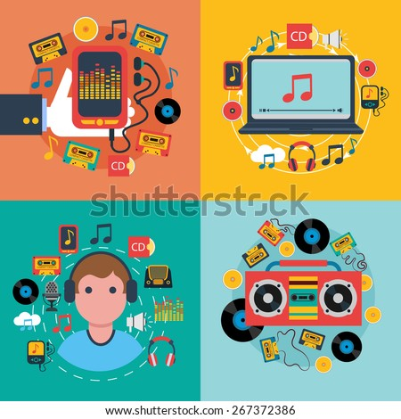 Tablet mobile music apps concept 4 flat icons composition with cd cassette player abstract isolated vector illustration - stock vector