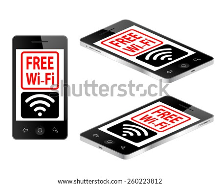 Tablet mobile phone in three views with free wifi text vector illustration  - stock vector