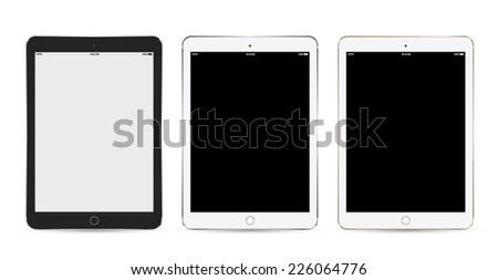 Tablet mockup set Isolated On White. Vector illustration. Can use for object application demo. Can use for printing and web. - stock vector