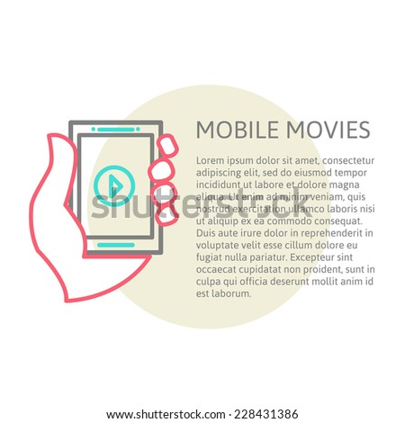 tablet on the hand with video player and place for your text., line vector illustration eps 10 - stock vector