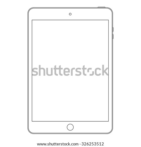 tablet outline icon in ipad style on the white background. stock vector illustration eps10 - stock vector