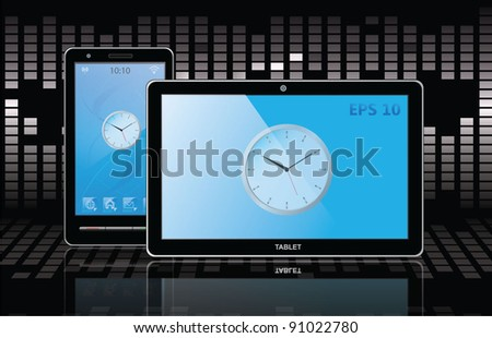 tablet pc and cell phone. vector - stock vector