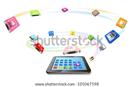 Tablet PC and flying icons are shown in the image.