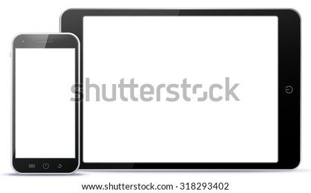 Tablet PC and Mobile Phone Vector illustration. - stock vector