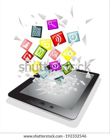 Tablet pc broken glass screen. Cloud of colorful application fly from a tablet pc as an online concept. - stock vector
