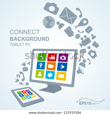 tablet pc copy file computer / vector no effect - stock vector