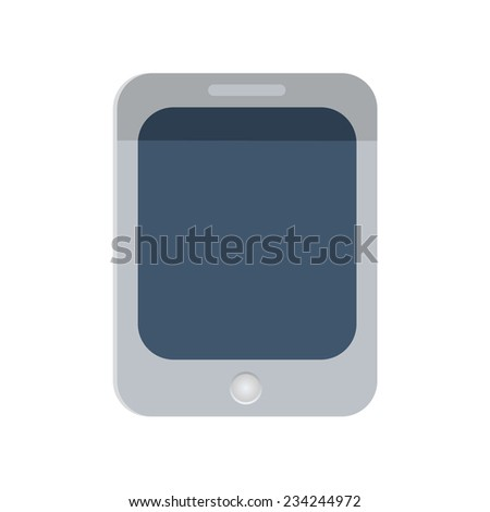 Tablet PC icon on white background, vector illustration. Flat design style.