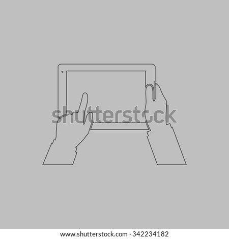 Tablet PC in human hands. Outlne vector icon on grey background