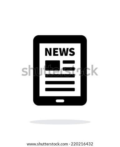 Tablet PC newspaper icon on white background. Vector illustration. - stock vector