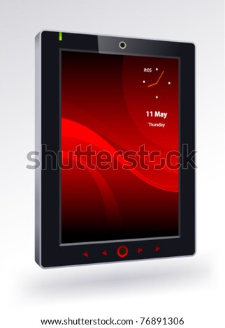 tablet pc on a white background - stock vector