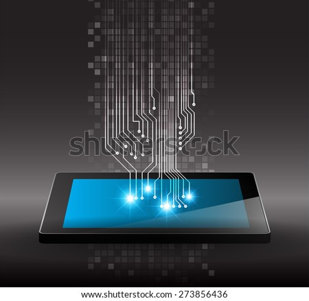 Tablet pc on black circuit digital background. Technology background for computer graphic website internet and business. infographics  - stock vector