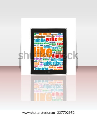 Tablet pc. social network and connected words on touchscreen tablet pc. brochure and touching smart phone screen - stock vector