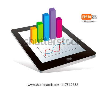 tablet pc touchpad display color diagram on white background - stock vector