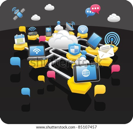 Tablet PC,wireless,cloud computing,communication concept - stock vector